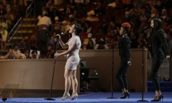 Vocalist Demi Lovato performs at the DNC convention in Philadelphia