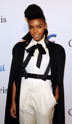 Janelle Monae arrives at pre-Grammy gala honoring David Geffen in Beverly Hills, California