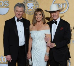 Patrick Duffy, Linda Gray, and Larry Hagman appear backstage at the 18th annual Screen Actor Guild Awards in Los Angeles