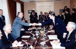 Mikhail Gorbachev and President Reagan Shake Hands at First Geneva Summit