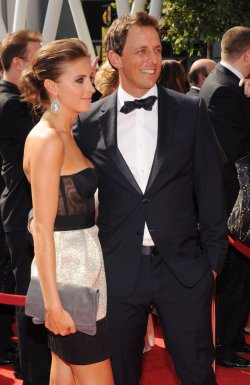 Seth Meyers and Alexi Ashe arrive at the Primetime Creative Arts Emmy Awards in Los Angeles