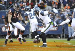 Seahawks Jackson fumbles in end zone against Bears in Chicago
