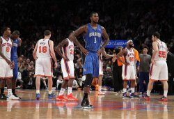 Orlando Magic Earl Clark reacts when a time out is called at Madison Square Garden in New York