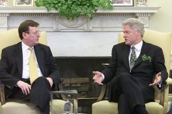 President Bill Clinton meets meets with Irish Prime Minister Bertie Aher