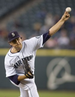 Seattle Mariners' starter Jason Vargas pitches against the Detroit Tigers in the third inning.