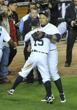 Tigers Inge and Cabrera celebrate win over Rangers in game 5 of ALCS in Detroit, Michigan