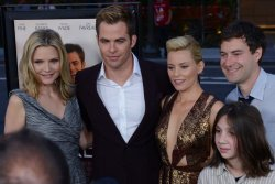 "Mark Duplass, Michael Hall D'Addario, Elizabeth Banks, Chris Pine and Michelle Pfeiffer attend the ""People Like Us"" premiere in Los Angeles"