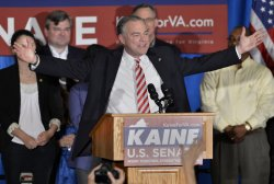 Virginia Senate candidate Tim Kaine declares victory at rally in Richmond, Virginia