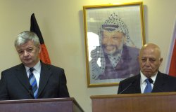 GERMAN FOREIGN MINISTER JOSCHKA FISCHER MEETS PALESTINIAN PRIME MINISTER AHMED QURIE