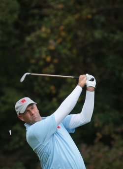 Stewart Cink tees off on the first day of Ryder Cup.