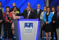Rep. Hakeem Jeffries addresses delegates at the DNC convention in Philadelphia
