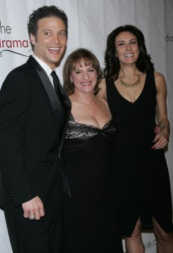 Justin Guarini, Patti LuPone and Laura Benanti arrive for the Drama League Benefit Gala in New York