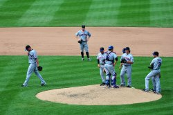 Mets' Mike Pelfrey it taken out of the game in Washington