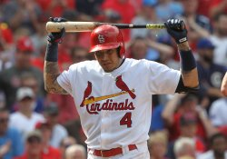 St. Louis Cardinals Yadier Molina strikes out
