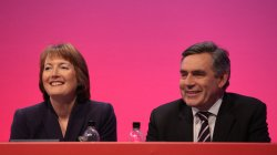 Gordon Brown and Harriet Harman smile on the final day of the Labour Party Conference 2009.