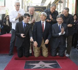 Ted Danson Tom LaBonge, Dick Wolf, Rene Balcer and Eric Garcetti, Sam Waterston and Leron Gubler participate in a ceremony where Waterston received a star on the Hollywood Walk of Fame in Los Angeles