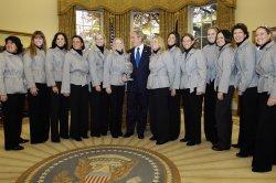 U.S. President Bush meets with U.S. Solheim Cup ladies golf team in Washington