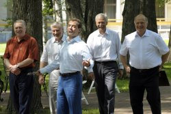 Russian President Medvedev and parliament factions' leaders fish at Zavidovo residence