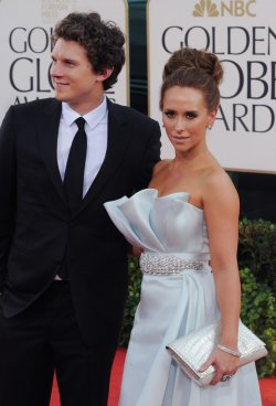 Jennifer Love Hewitt and Alex Beh arrive at the 68th annual Golden Globe Awards in Beverly Hills, California
