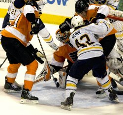 Flyers goalie Brain Boucher makes save during second period in Philadelphia.