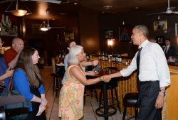 President Obama Greets Restaurant Customers in Virginia