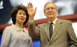 Senator Mitch McConnell and wife Elaine Chao at preparation for the Republican National Convention.