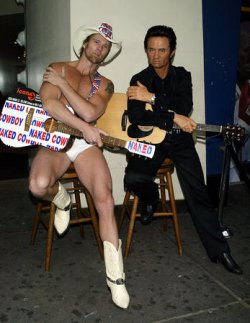 JOHNNY CASH WAX FIGURE WITH NAKED COWBOY