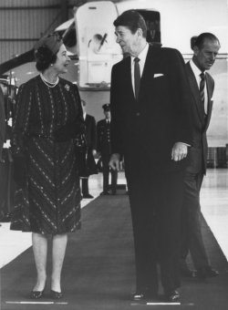 Queen Elizabeth and Prince Philip Meet with President Reagan