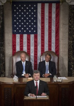Ukrainian President Petro Poroshenko addresses a joint meeting of Congress in Washington, D.C.