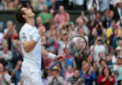 Andy Murray celebrates a win in his match with Fernando Verdasco