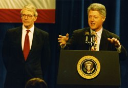 President Bill Clinton and British Prime Minister John Major visit Pittsburgh