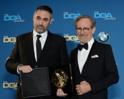 Alex Garland and Steven Spielberg backstage at the 68th annual Directors Guild of America Awards