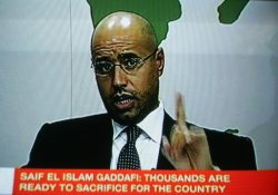 Saif Al-Islam, son leader of Libyan Moammer Gadhafi, speaks to the Nation