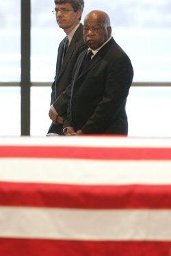 Well wishers view the casket of Senator Edward Kennedy (D-MA) in Boston
