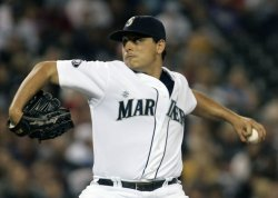eattle Mariners Jason Vargas pitches against the New York Yankees in Seattle.