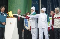 Olympic Flame arrives in Canada at Victoria International Airport for start of 2010 Winter Olympic Torch Relay