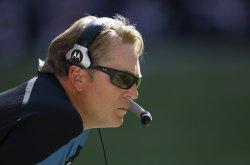 Jacksonville Jaguars Head Coach Jack Del Rio Coaches at Reliant Stadium in Houston