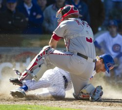 Nationals' Ramos Tags Out Cubs' Mather on Opening Day in Chicago