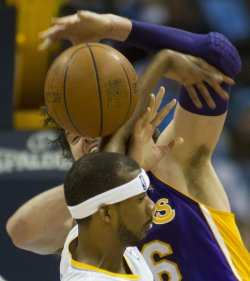 Nuggets Brewer Fouls Lakers Gasol During the NBA Western Conference Playoffs First Round Game Four in Denver
