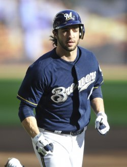 Brewers Braun rounds bases against Cardinals during NLCS in Milwaukee, Wisconsin