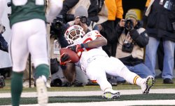 Kansas City Chiefs Dwayne Bowe can not hold on to a touchdown pass at MetLife Stadium in New Jersey