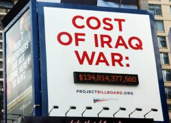 BILLBOARD MONITORS DAILY COST FOR US WAR IN IRAQ