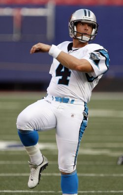 Carolina Panthers John Kasay kicks a field goal before a NFL Preseason game against the New York Giants at Giants Stadium