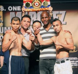 Floyd Mayweather Jr. and Juan Manuel Marquez weigh in at MGM in Las Vegas