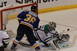 St. Louis Blues Troy Brouwer deflects the pucks in front of Dallas Stars Kari Lehtonen