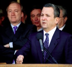 Israeli Prime Minister Ehud Barak answers questions about Mid East peace process crisis
