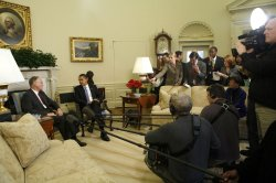 President Barack Obama meets with Jim Douglas, Governor of Vermont in Washington