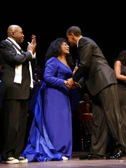 President Barack Obama goes to the Ford's Theater reopening celebration in Washington