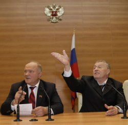Russian Communist leader Zyuganov and Nationalist Liberal Democratic Party leader Zhirinovsky hold a news conference