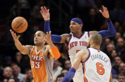 New York Knicks Carmelo Anthony and Phoenix Suns Grant Hill at Madison Square Garden in New York